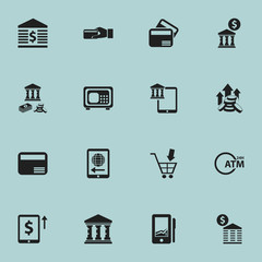 Set Of 16 Editable Banking Icons. Includes Symbols Such As Mobile Banking, Court House, Increase Dollar And More. Can Be Used For Web, Mobile, UI And Infographic Design.