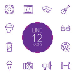 Set Of 12 Pleasure Outline Icons Set.Collection Of Barrier Rope, Photo Camera, Vr Helmet And Other Elements.