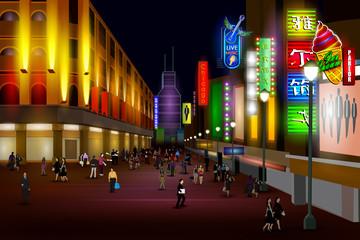 City nightlife of Chicago Shanghai street