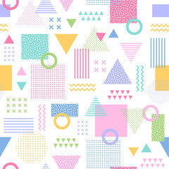 Colorful geometric seamless vector pattern in memphis style