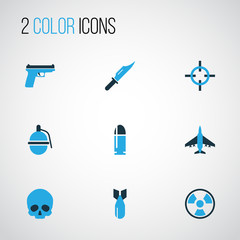 Combat Colorful Icons Set. Collection Of Skull, Bio Hazard, Bullet And Other Elements. Also Includes Symbols Such As Rocket, Head, Shot.