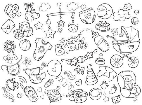 Newborn infant themed doodle set. Baby care, feeding, clothing,