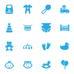 Set Of 16 Kid Icons Set.Collection Of Girl, Cot, Bus And Other Elements.