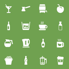 Set Of 16 Drinks Icons Set.Collection Of Fridge, Hotdrink, Drink And Other Elements.