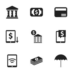 Set Of 9 Editable Investment Icons. Includes Symbols Such As Currency, Townhouse, Money Card And More. Can Be Used For Web, Mobile, UI And Infographic Design.