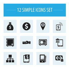 Set Of 12 Editable Finance Icons. Includes Symbols Such As Money-Guard, Freelance Income, Safe And More. Can Be Used For Web, Mobile, UI And Infographic Design.