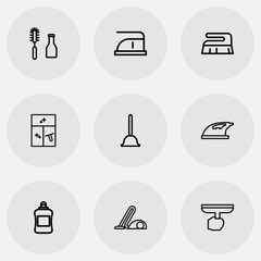 Set Of 9 Editable Cleanup Icons. Includes Symbols Such As Tools, Brush, Detergent And More. Can Be Used For Web, Mobile, UI And Infographic Design.