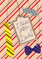 Father's Day congratulation card. Vector illustration