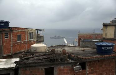A Navy ship patrols during the Rio 2016 Olympic Games offshore Rio de Janeiro
