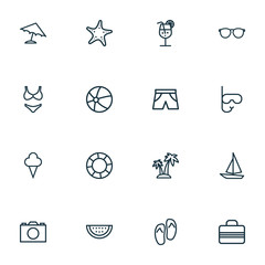 Hot Outline Icons Set. Collection Of Photo, Sea Star, Volleyball And Other Elements. Also Includes Symbols Such As Play, Umbrella, Sail.