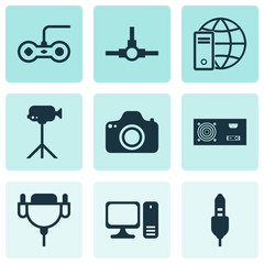 Hardware Icons Set. Collection Of Vga Cord, Camcorder, Internet Network And Other Elements. Also Includes Symbols Such As Generator, Monitor, Aux.