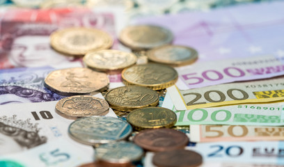 Sterling and Euro banknotes and coins