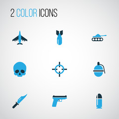 Battle Colorful Icons Set. Collection Of Aim, Fighter, Tank And Other Elements. Also Includes Symbols Such As Bomb, Shot, Military.