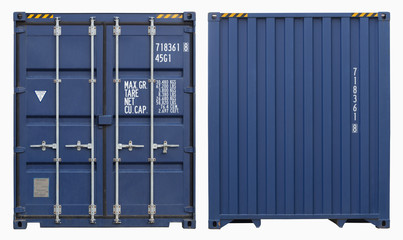Photo sur Aluminium Port Shipping container, isolated, two sides view