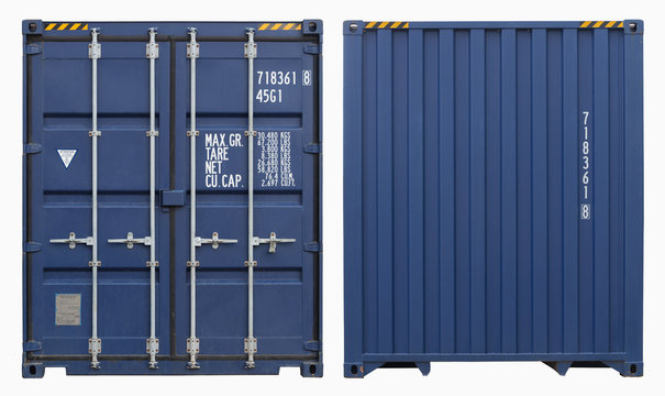 Shipping container, isolated, two sides view