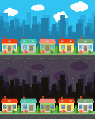 Vector city with four one-story cartoon houses in the day and night. Summer urban landscape. Street view with cityscape on a background