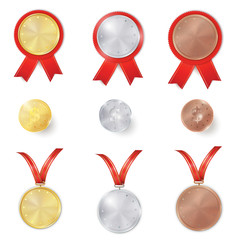 Set of gold, silver and bronze award medals with red ribbons. Set of gold, silver and bronze coins. Color realistic 3d Rosette set. Place for text.