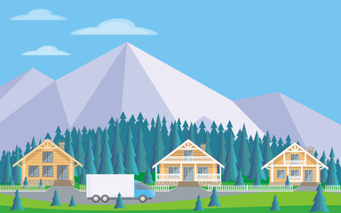 The image of the cottage settlement against the background of the coniferous forest and mountains. Beautiful summer landscape. Vector background.