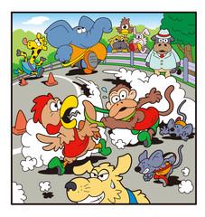動物キャラクターのマラソン、駅伝競争