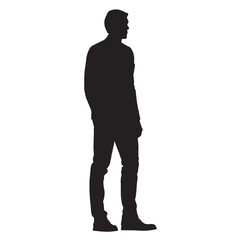 Man standing, side view, isolated vector silhouette