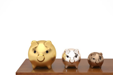 Gold silver copper three piggy bank on the wood board.3D illustration