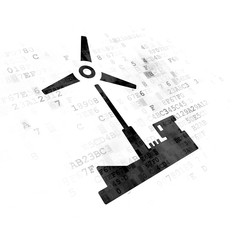 Industry concept: Windmill on Digital background