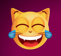 Cute Very Happy with Tears of Joy Emoticon Cat on Black Background . Isolated Vector Illustration