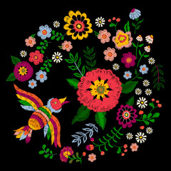 Embroidery ethnic colorful pattern with bird and fantasy flowers. Vector embroidered traditional floral design for fashion fabric.