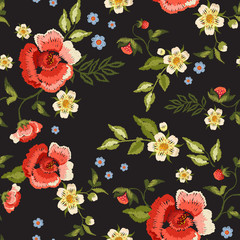 Embroidery traditional folk seamless pattern with red roses and strawberry. Vector embroidered floral bouquet template with flowers and berry for clothing design.