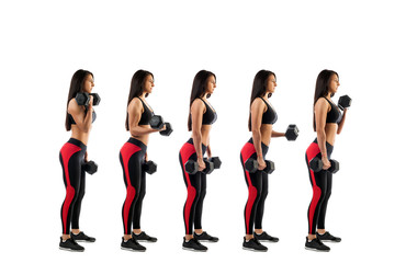 Stages of execution on a bicep with dumbbells, beautiful young woman, isolated white background