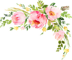 Bohemian watercolor floral wreath. Wedding decoration composition