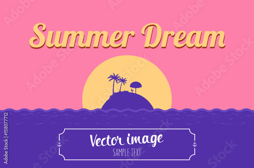 tropical sea island beach background with words summer dream vector