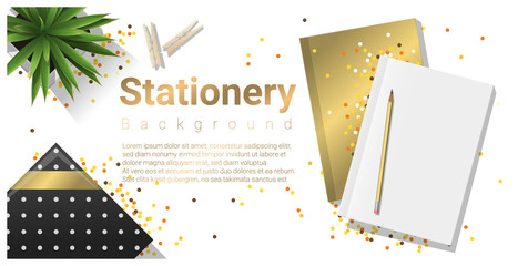 Creative scene with stationery on white background , vector , illustration