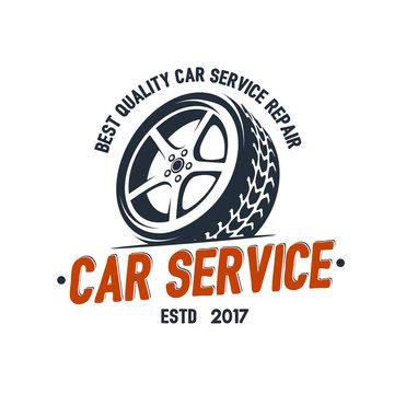 Car Service wheel logo emblem design vector