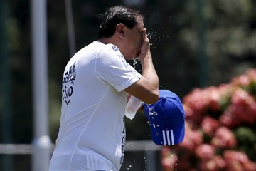 Paraguay's soccer head coach Ramon Diaz washes his face with cool water during a training session in Puerto Ordaz