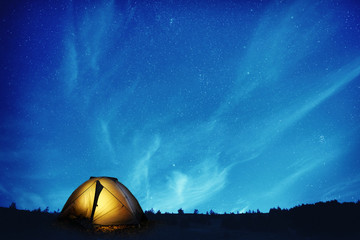 Aluminium Prints Night Illuminated camping tent at night
