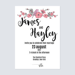 Cute minimalist with flowers and a bird floral wedding invitation card template vector