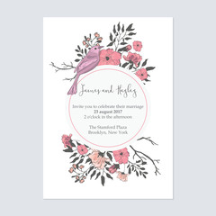 Text in a circle with flowers and birds floral wedding invitation card template vector