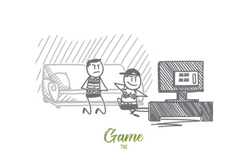 Vector hand drawn Game time concept sketch. Teenagers playing play station at home