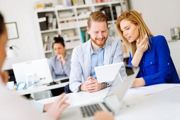 Succeful business partners brainstormin