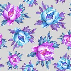 Floral seamless pattern with flowering pink and blue  peonies, on gray background. Watercolor hand drawn painting illustration.  Pop-art style, isolated. Design for fabric, wrap paper or wallpaper.