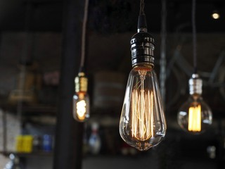 Edison light bulbs with beautiful background