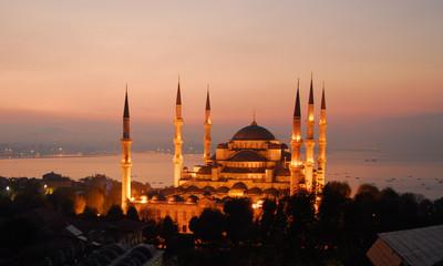 blue mosque sunset