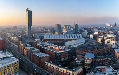 Photo Stands City building Manchester Skyline UK