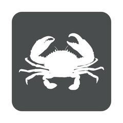 Icono plano cangrejo en cuadrado gris