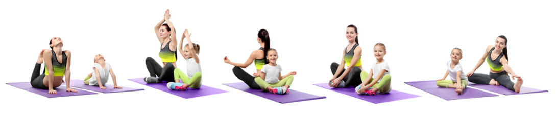 Collage of mother and daughter practicing yoga together on white background. Sport and family concept