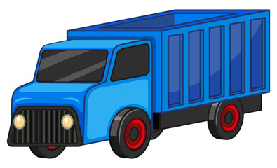 Blue truck on white background