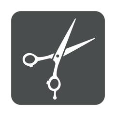Icono plano tijeras peluquero en cuadrado gris