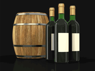 wine barrel and bottles. Image with clipping path