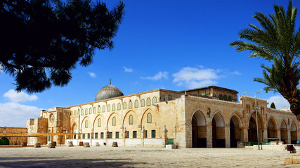 Al-Aqsa Mosque in Jerusalem on the top of the Temple Mount. Al Aqsa mosque is a sacred place for all muslims and islamic people.